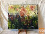 Umetniška abstraktna slika, akril, motiv Gozd
