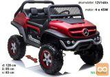 avto na akumulator Mercedes Unimog rdeč